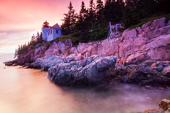 Bass Harbor Lighthouse Sunset by MIRCEA COSTINA