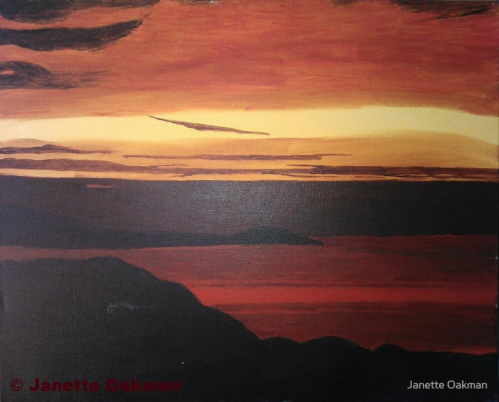 Cornish Sunset - Acrylic Painting by Janette Oakman