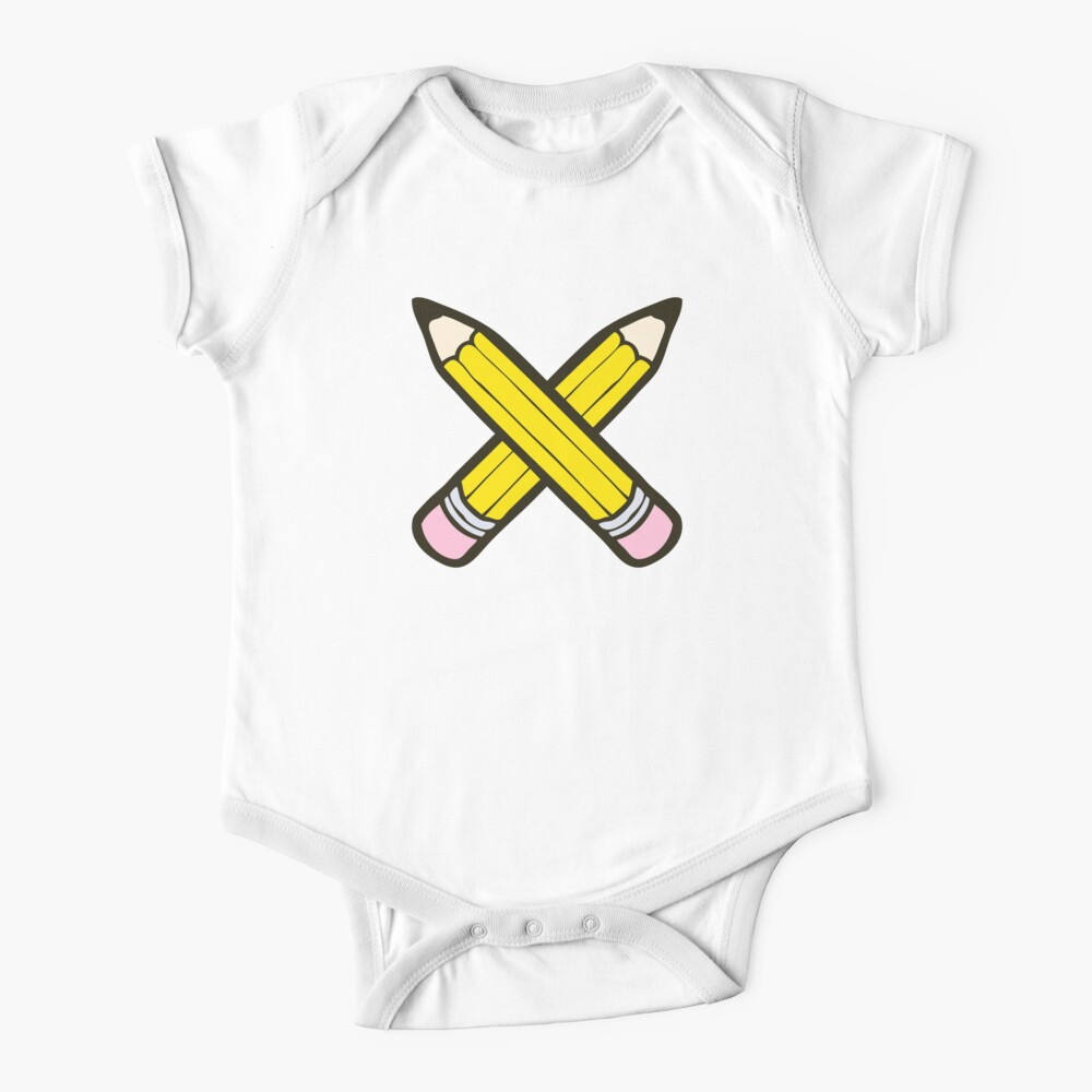 Pencil Power Blue Pattern Short Sleeve Baby One-Piece