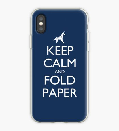 Keep Calm and Fold Paper - Unicorn / Blue iPhone Case