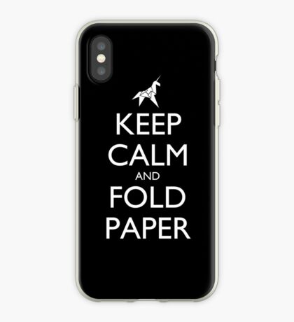 Keep Calm and Fold Paper - Unicorn / Black iPhone Case