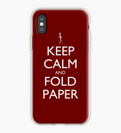 Keep Calm and Fold Paper - Stickman/Red iPhone Case