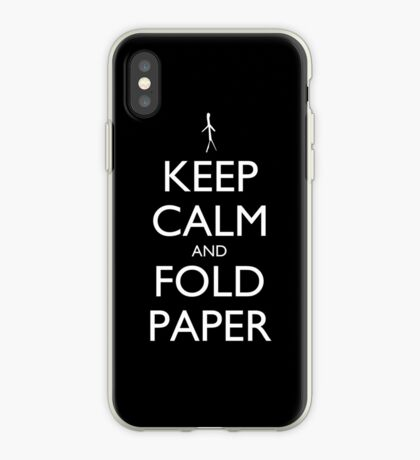 Keep Calm and Fold Paper - Stickman/Black iPhone Case