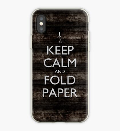Keep Calm and Fold Paper - Stickman/Metal iPhone Case
