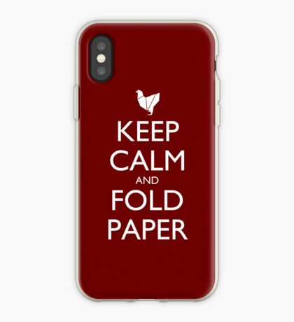 Keep Calm and Fold Paper - Chicken/Red iPhone Case
