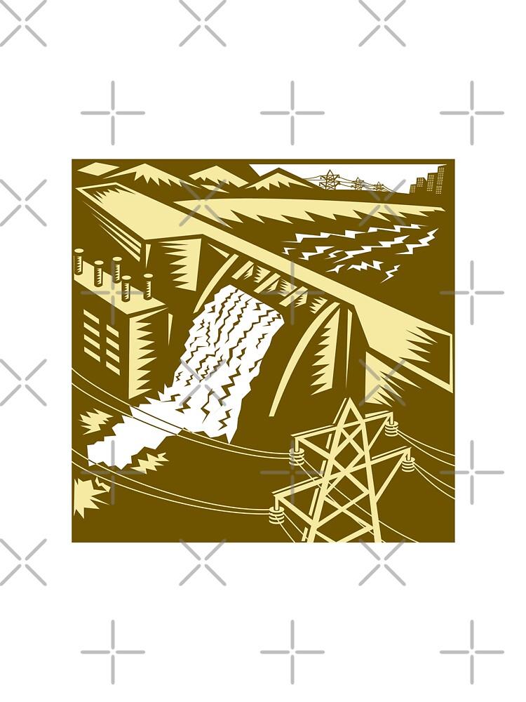 Hydroelectric Hydro Energy Dam Woodcut by patrimonio