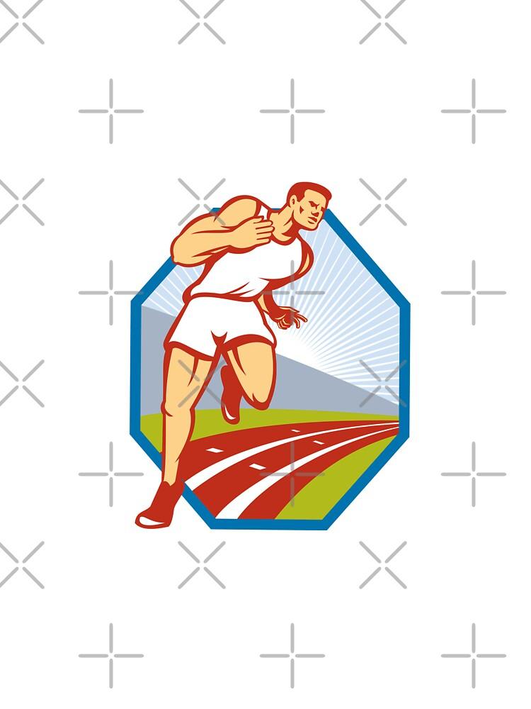 Marathon Runner Running Race Track Retro by patrimonio