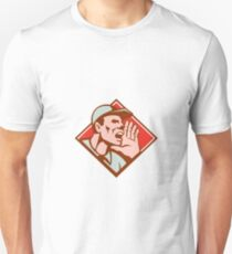 Worker Looking Up Shouting Retro Unisex T-Shirt