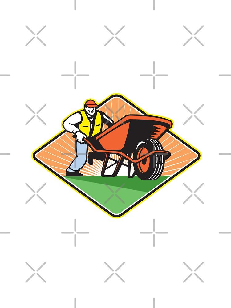 Gardener Pushing Wheelbarrow Retro by patrimonio
