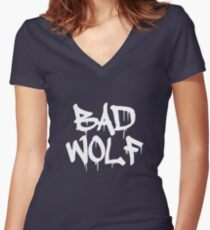 Bad Wolf #1 - White Women's Fitted V-Neck T-Shirt