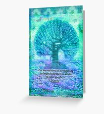Rumi Friendship Peace Quote with tree art Greeting Card