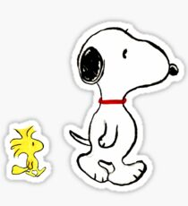 Snoopy and woodstock walking Sticker