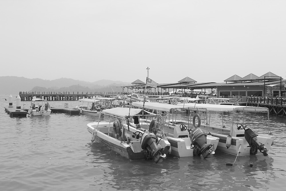 Boats at Jesselton Point in Kota Kinabalu by Dave Austin