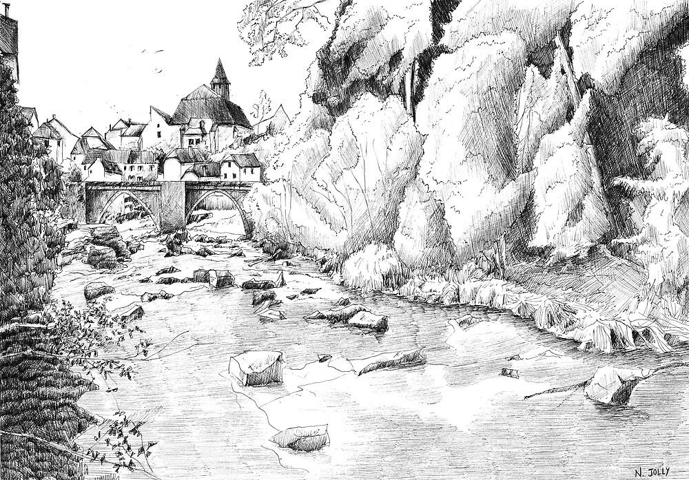 Treignac - Black ink drawing by nicolasjolly