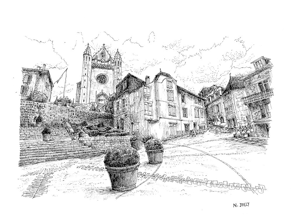 Church of Terrasson - Black ink drawing by nicolasjolly