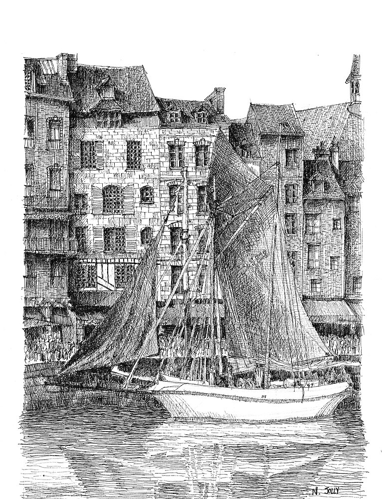 Honfleur - Black ink drawing by nicolasjolly