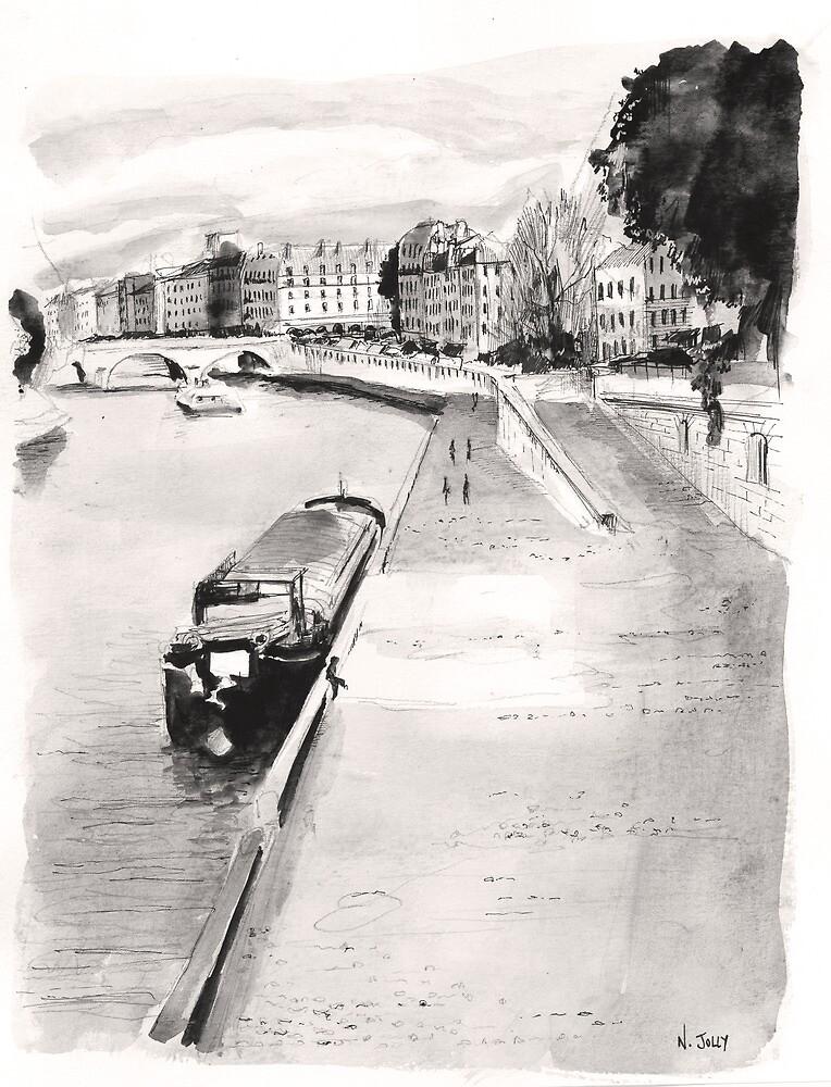 La Seine - Watercolor by nicolasjolly