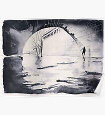 Under the bridge - Paris - Watercolor Poster