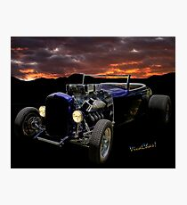 Low Boy Roadster Meets Morning's Rosy Glow Photographic Print