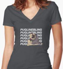Pugline Bling Women's Fitted V-Neck T-Shirt