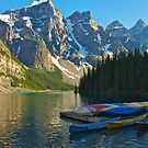 Canoe Dock at Moraine Lake by Luann wilslef