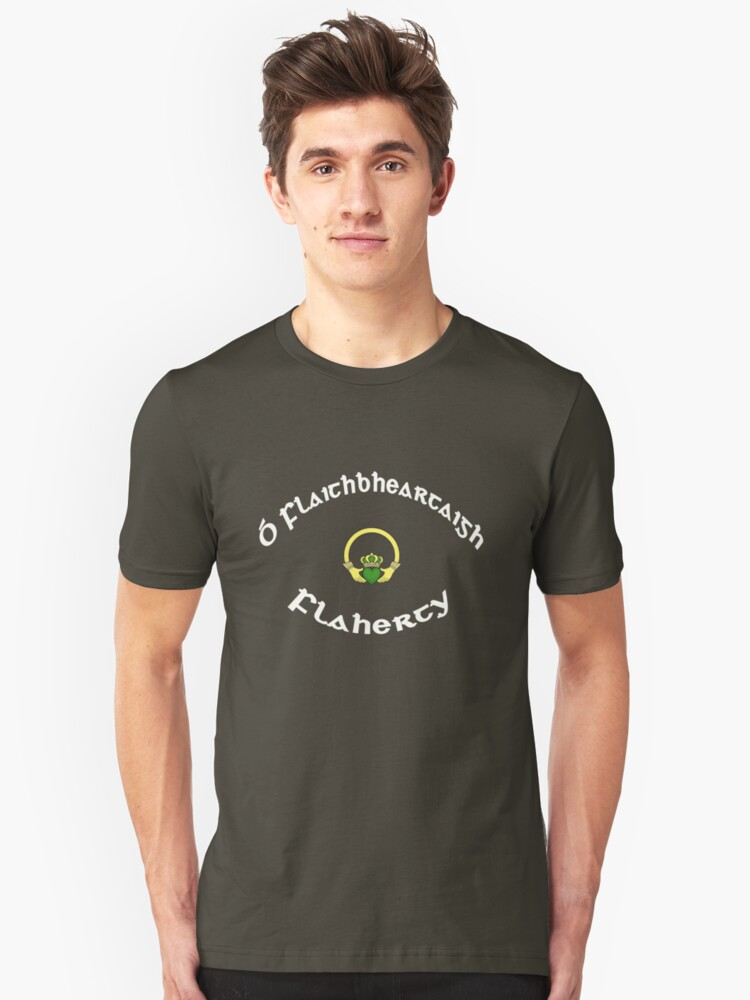 Flaherty Surname - Dark Shirts with Claddagh Unisex T-Shirt Front
