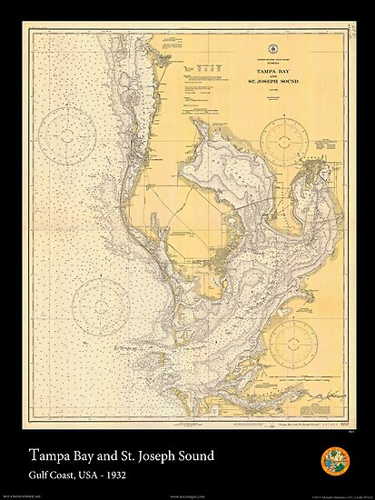 Vintage Print of Tampa Bay and St. Joseph Sound - 1932 von aocimages