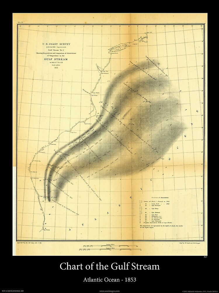 Historical Chart of the Gulf Stream Map - 1853 by aocimages
