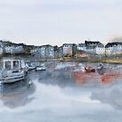 Rosmeur port - Watercolor by nicolasjolly