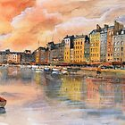 Sunset over Honfleur - Watercolor by nicolasjolly