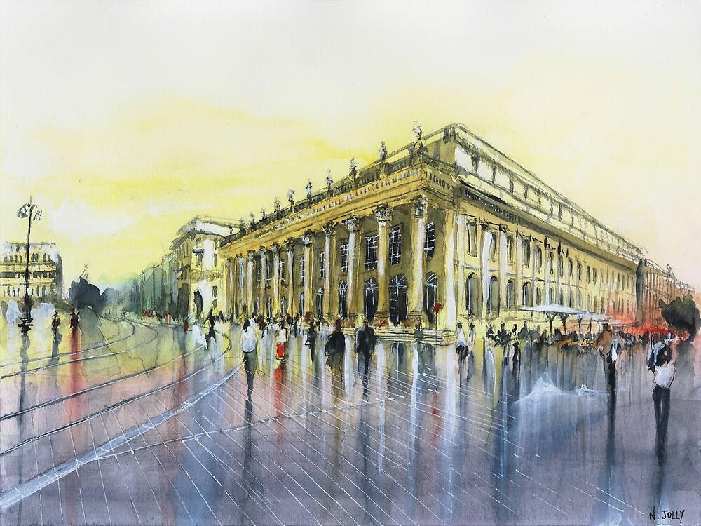 Le Grand Théâtre - Bordeaux - Watercolor by nicolasjolly