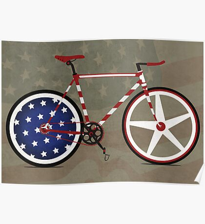 I Love My American  Bike Poster