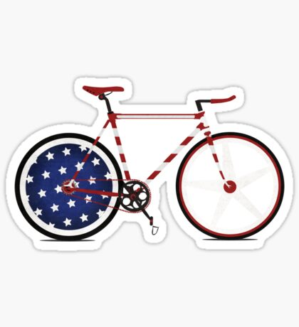 I Love My American  Bike Sticker