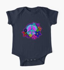 Peace Love and Flowers Tee One Piece - Short Sleeve