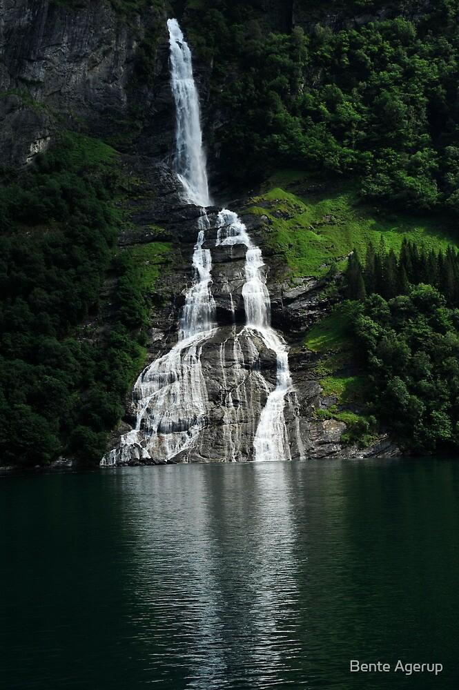 Waterfall in Geirangerfjorden by Bente Agerup