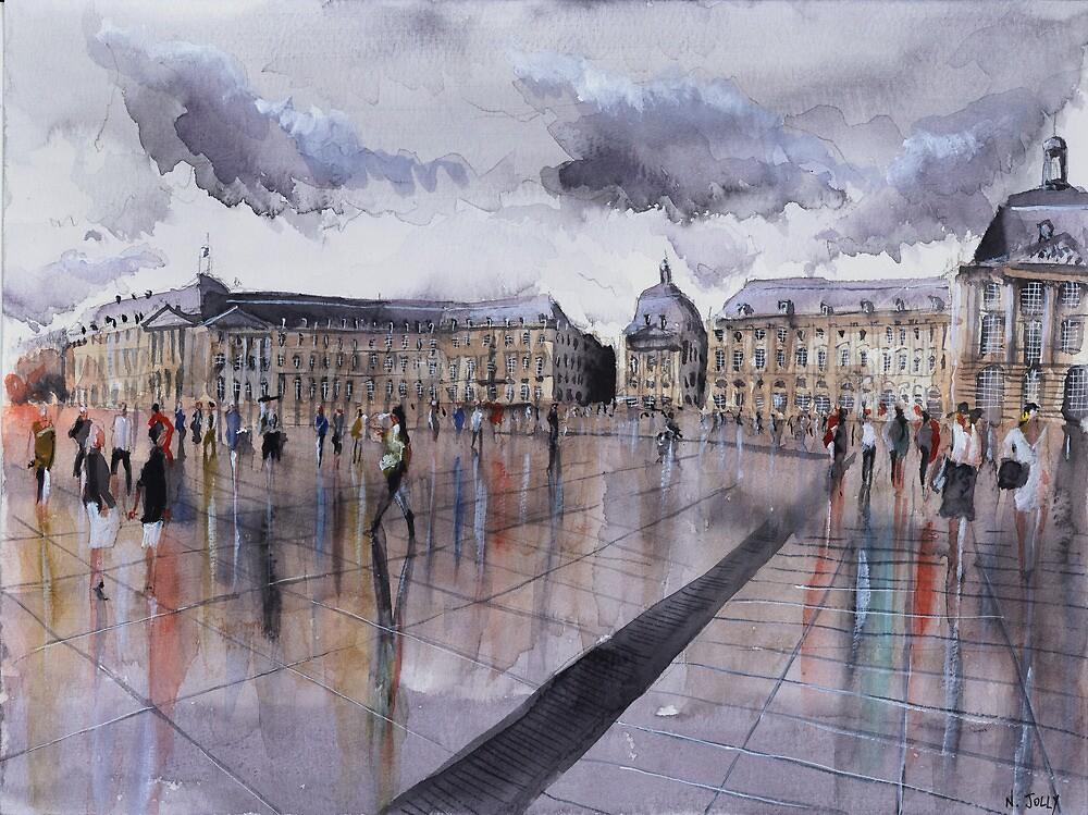Place de la Bourse - Bordeaux - Watercolor by nicolasjolly