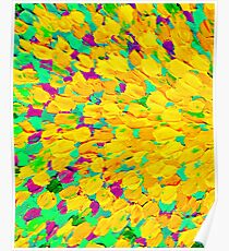 SPRING SPLASH Abstract Acrylic Painting Bright Cheerful Lime Sunshine Yellow Lavender Lilac Purple Ocean Beach Waves Poster