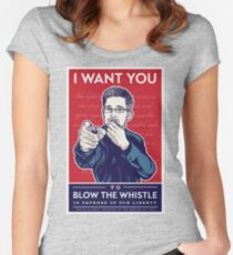 Edward Snowden I Want You Women's Fitted Scoop T-Shirt