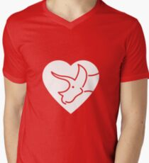Dinosaur heart: Triceratops Mens V-Neck T-Shirt