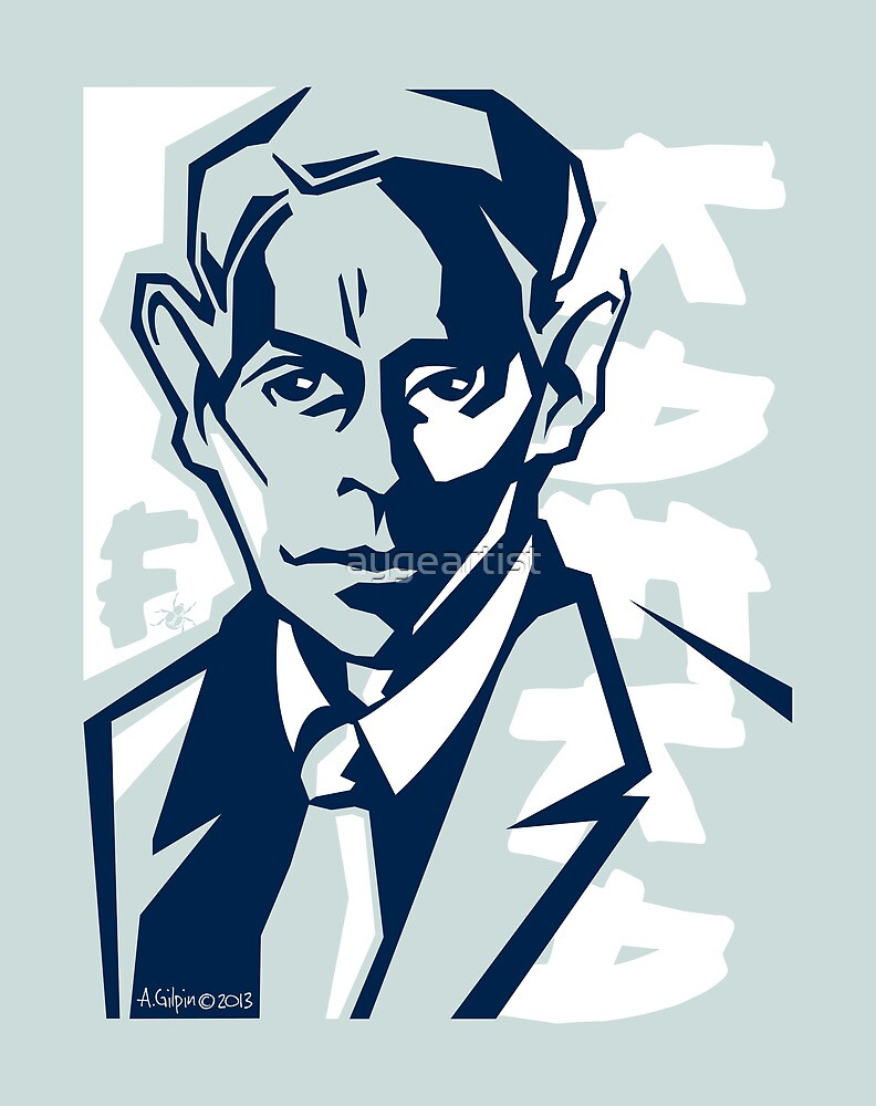 Kafka portrait in Navy Blue & Pastel Green by aygeartist