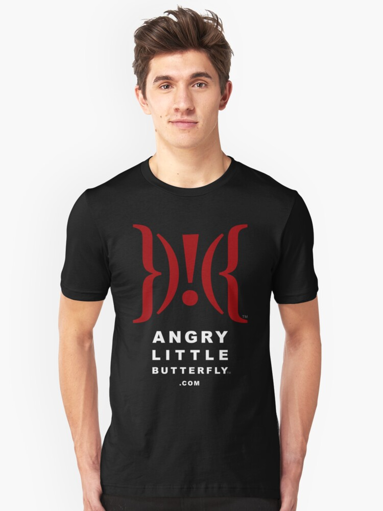 Angry Little Butterfly (TM) - White Text Unisex T-Shirt Front