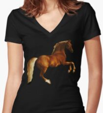 George Stubbs Whistlejacket - 1762 (for black background) Women's Fitted V-Neck T-Shirt