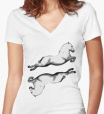 Two Lipanzanna Stallions in Capriole (Black and White) Women's Fitted V-Neck T-Shirt