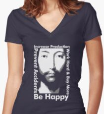 OMM 0000 THX -1138 Be Happy Women's Fitted V-Neck T-Shirt