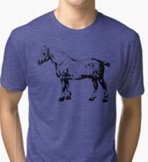 Percheron Stallion Black Tri-blend T-Shirt