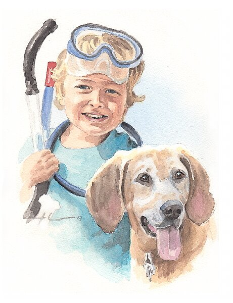 Boy and dog watercolor by Mike Theuer