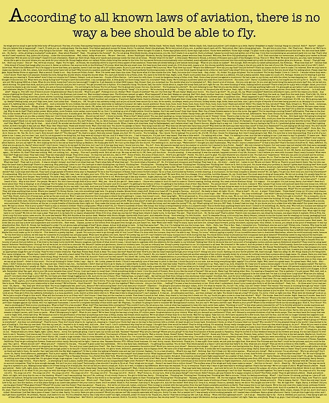 The Entire Bee Movie Script By Mega Megantron