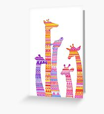 Giraffe Silhouettes in Colorful Tribal Print Greeting Card