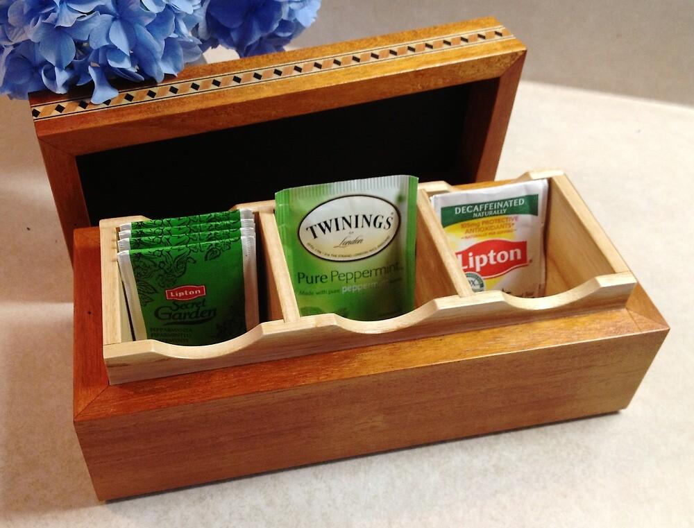 Tea Bag Box - open view (No. 114) by Robert's Woodworking Studio
