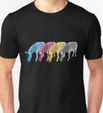 CMYK Drinking Zebras Unisex T-Shirt